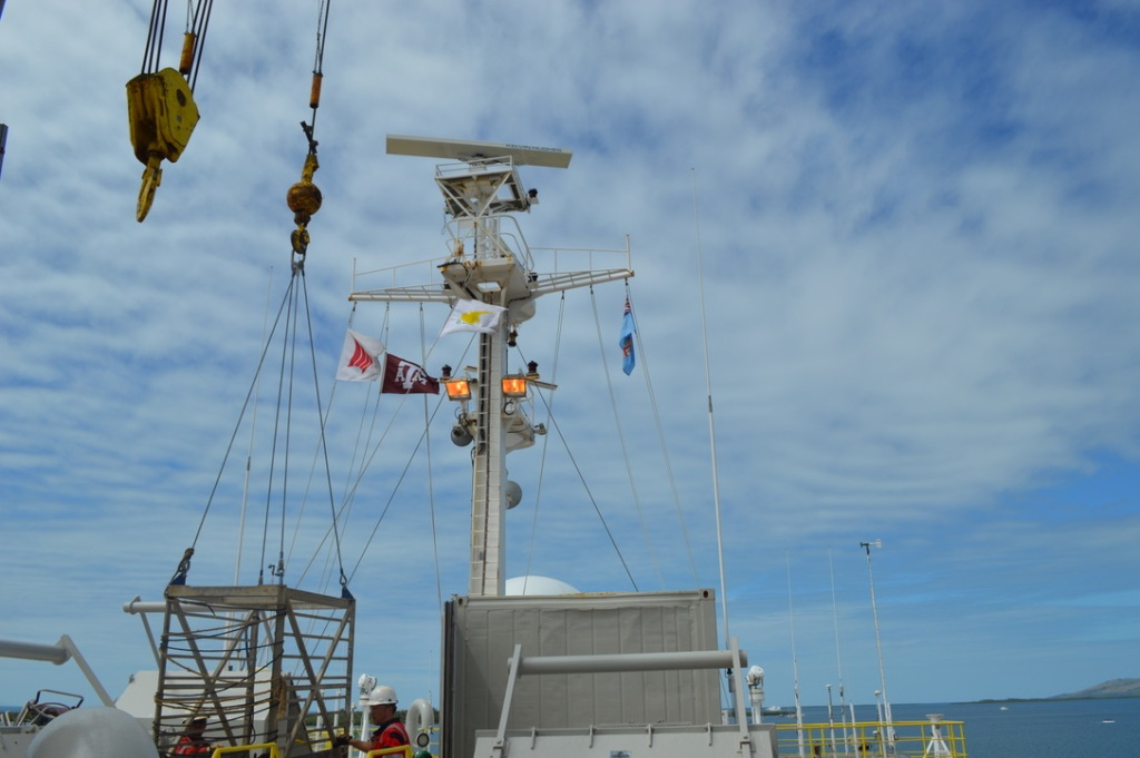 An image of the Texas A&M flag hanging from the ship.